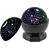 Etoiles Veilleuse Projecteur, Supertech 360 Ciel Étoile Nuit Lumière degrés étoile Lampe de projecteur Nuit romantique Projection Lampe d'éclairage Moon Star 4 ampoule pour la maison, chambre d'enfant, mariage,noël, anniversaire, fêtes
