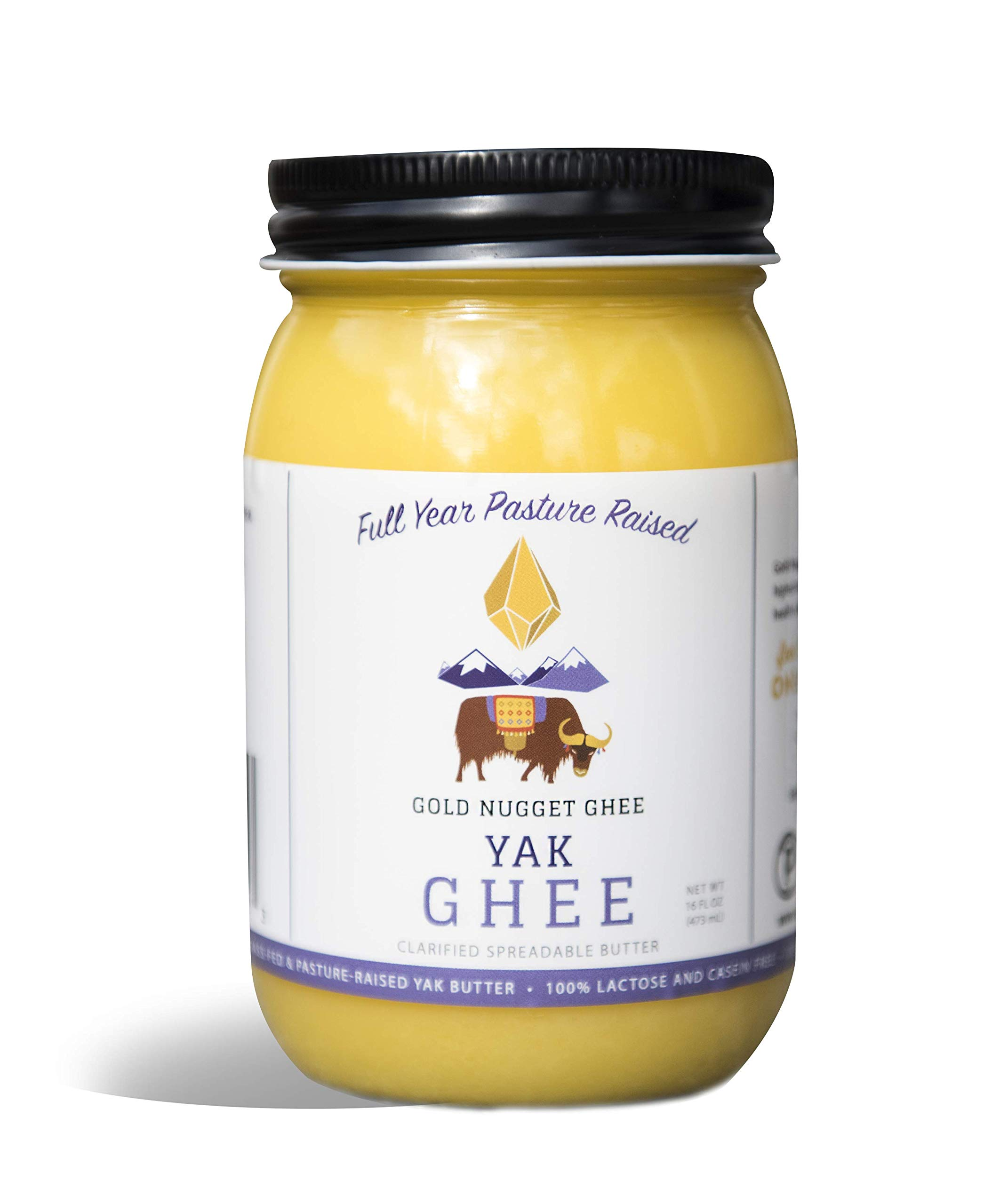 YAK GHEE A2/A2 BY GOLD NUGGET GHEE, FULL-YEAR/PASTURE-RAISED, GRASS-FED BUTTER, KETO & PALEO 16oz by Gold Nugget Ghee (Image #1)