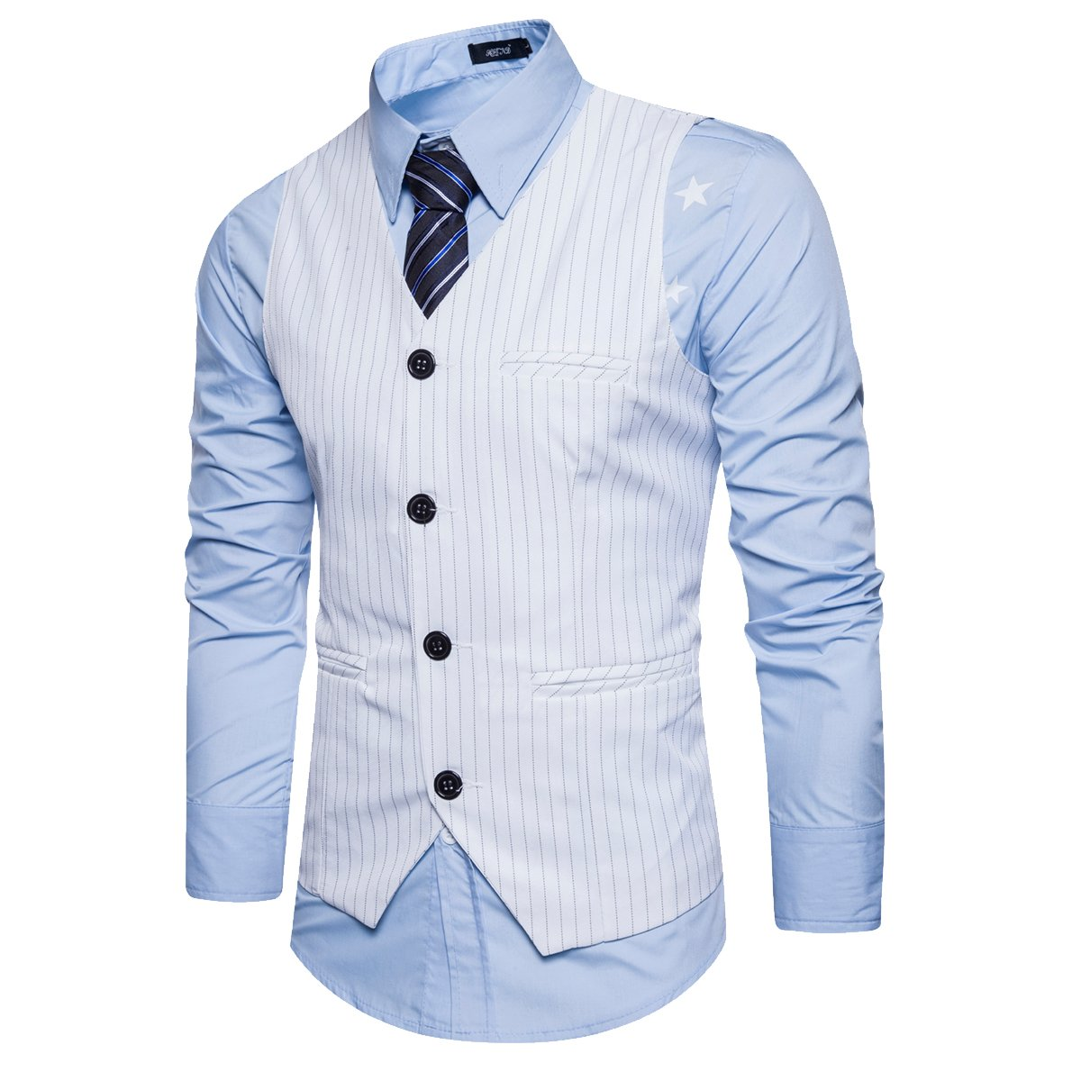 Cottory Mens Classic Stripe Single-breasted 4Buttons Slim Fit Suit Vest