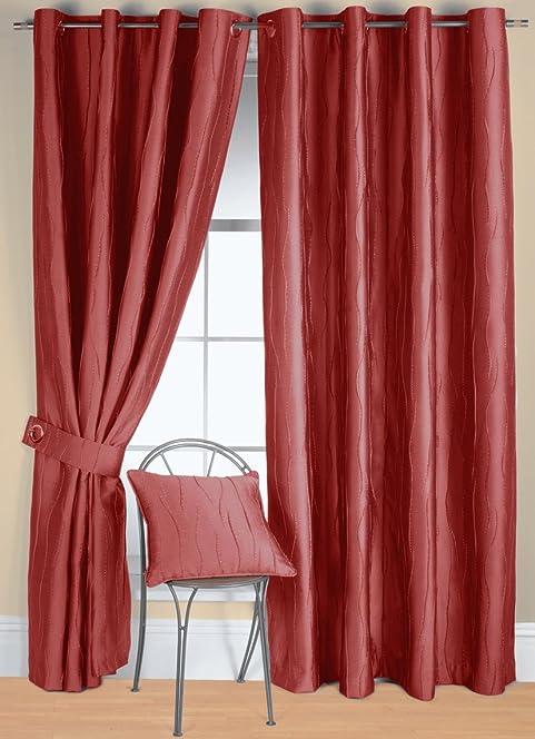 Rectella 44 X 54 Inch Jazz Eyelet Curtains, Red