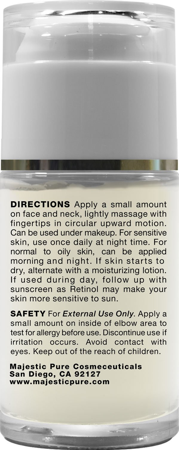 Retinol amounts in moisturizers - Amazon Com Retinol Cream From Majestic Pure 1 Oz Moisturizing Cream For Face Or Eye Area Reduces The Appearances Of Wrinkles Redness With Retinol