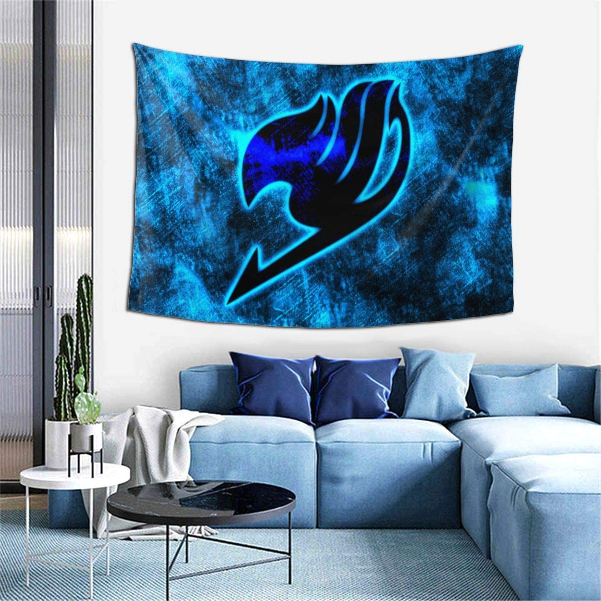 JAIDEN BEATA Dazzle Cool Super Soft Does Not Fade Tapestry,Fairy Tail Blue Bird 3D Printing Cartoon Fashion Hippie Bohemian Psychedelic Creative Art Wall Hanging Home Decor