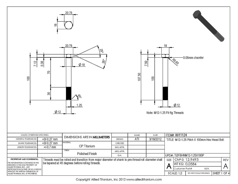 Inc M12-1.25 Pitch X 100mm Titanium Hex Head Bolt Pack of 2 Grade 2 CP Allied Titanium 0011124, 608958001