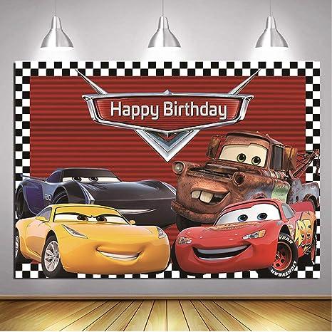 Daniu Monster Car Race Foto de Fondo Ruta 66 Coche de Carreras Fondo Fiesta de Bienvenida al bebé Chico Feliz cumpleaños Fiesta Decoración Banner ...