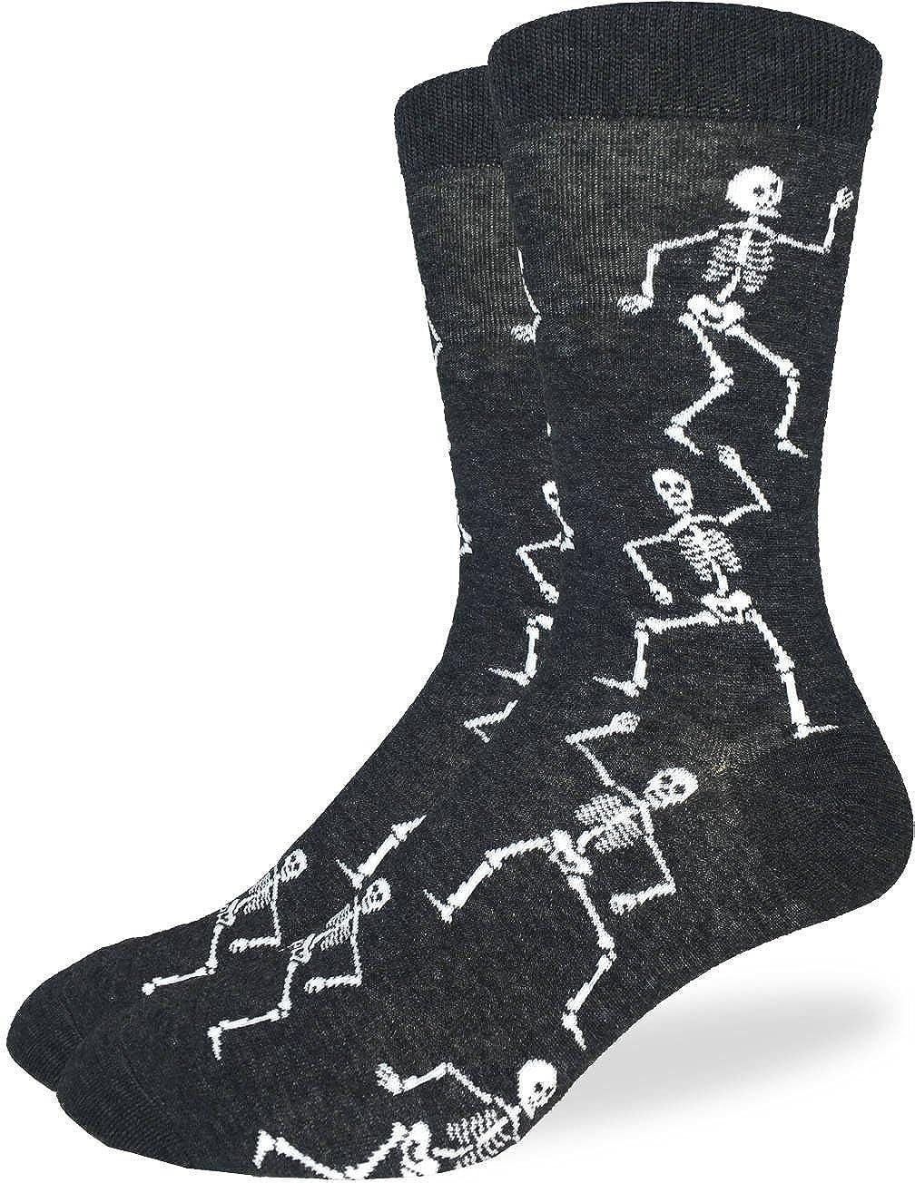 Good Luck Sock Men's Halloween Skeleton Socks - Black, Adult Shoe size 7-12 1266