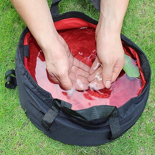Rayami Bassine multifonctions l/ég/ère portable pliable pour stockage de leau /Étui de transport Sac /à poign/ée pour ext/érieur Voyage Camping Randonn/ée P/êche 8,5 L Bleu Vert Rouge