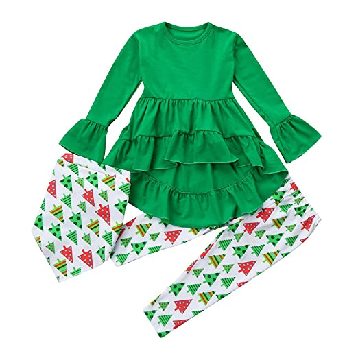 db8ca55fb98ed Amazon.com: Tanhangguan Christmas Dress Set 3pcs Christmas Tree Dress Scarf  Set Baby Girl Outfits Irregular Top Dress+Pants+Scarf Set: Clothing