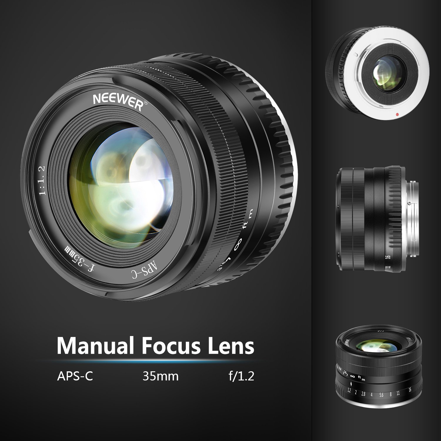 Neewer 35mm F12 Large Aperture Prime Aps C Aluminum Lens Compatible Fujifilm X T2 Body Only Xf 56mm With Fuji Mount Mirrorless Cameras A1 A10 A2 A3 At M1 M2 T1 T10
