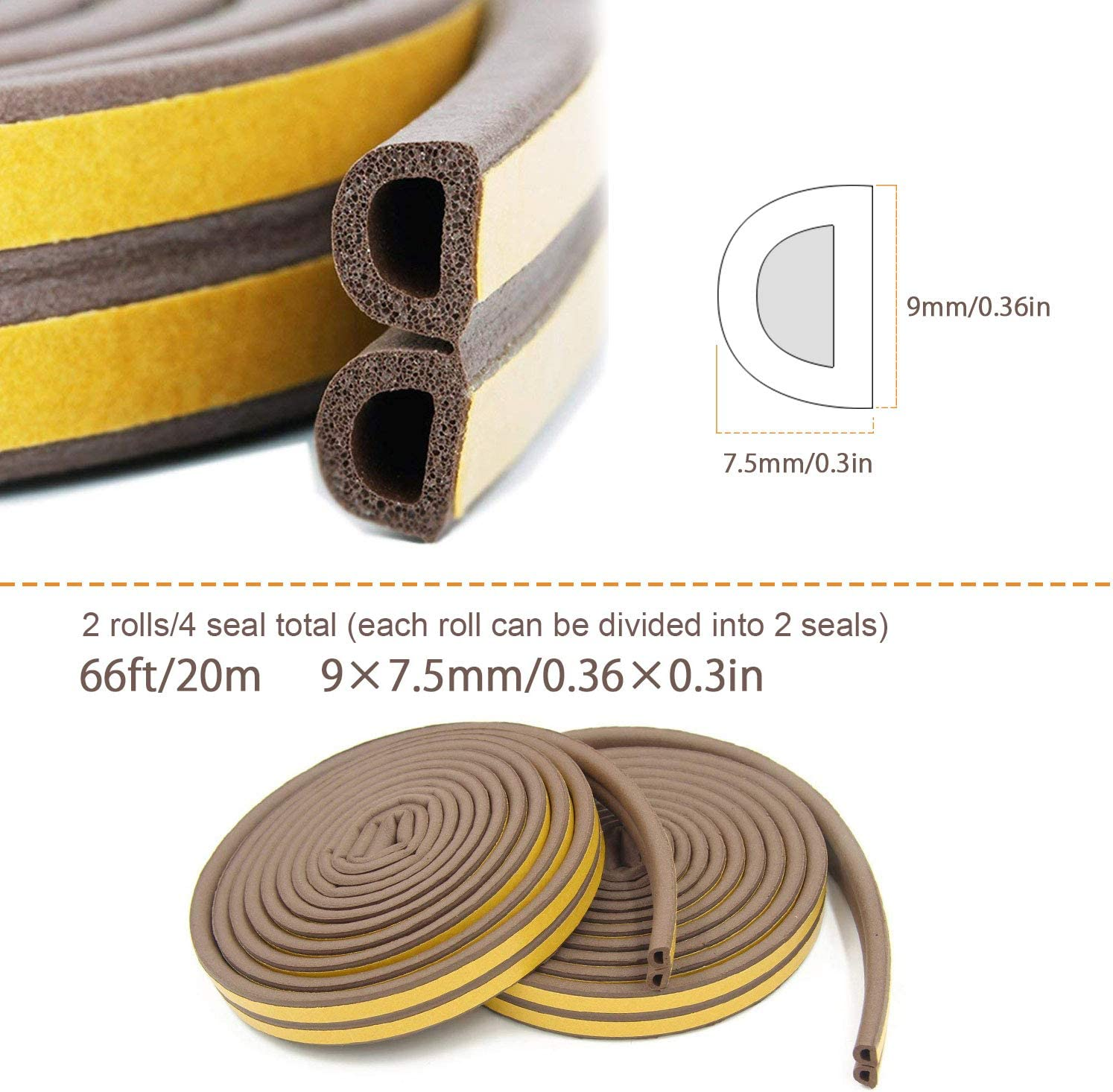 2 Pack Brown 20m KELIIYO Door Weather Stripping Self-adhisive Foam Weather Strip Door Seal Strip Insulation Gap Blocker Epdm D Type 66ft Window Seal Strip for Doors and Windows