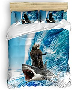 Duvet Cover Set Printed 4 Pcs Bedding Set Full Size Include Duvet Cover, Bed Sheet, Pillow Shams Funny Bear with Machine Gun and Shark Surfing Ocean Wave Soft Quilt Sets for Children/Adults