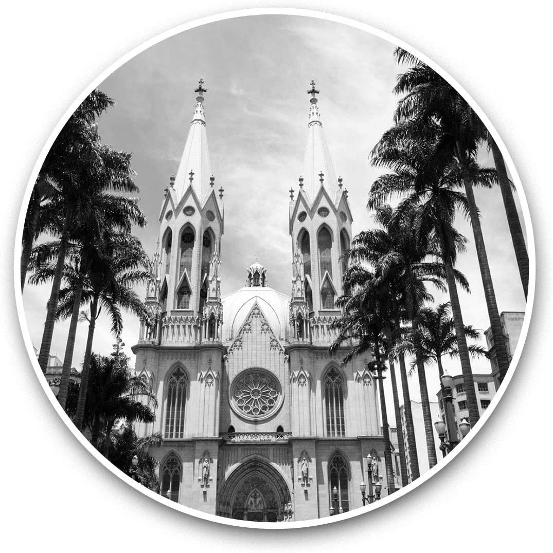Vinyl Stickers (Set of 2) 15cm Black & White - Sao Paulo Cathedral Brazil Laptop Luggage Tablet #37127