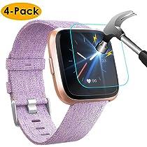 KIMILAR Pantalla Compatible con Fitbit Versa / Versa Lite Protector de Pantalla [4 Pack], (No para Versa 2) 9H Dureza Cristal Templado Películas Protectoras para Versa - [Anti-rasguño]: Amazon.es: Electrónica