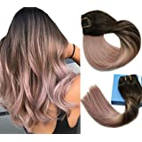 Remy Hair Extensions Clip in Human Hair Extensions Ombre Dark Brown Fading to Grey-Pink Ombre Clip in Extensions…