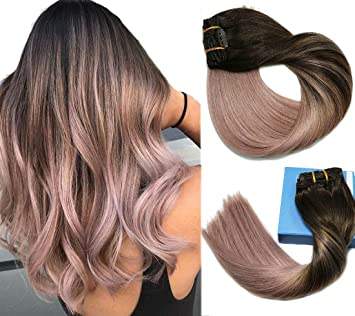 Amazon Com Remy Hair Extensions Clip In Human Hair Extensions Ombre Dark Brown Fading To Grey Pink Ombre Clip In Extensions Balayage Hair Extensions 7pcs 120g 16 Inch Beauty