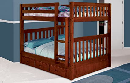 Amazon Com Mission Full Over Full Bunk Bed With 3 Drawers Desk