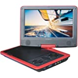 "SYNAGY 9"" Portable DVD Player with Swivel Screen, 4 Hours Rechargeable Battery, USB/SD Card Reader, AC/DC Adapter (Red)"