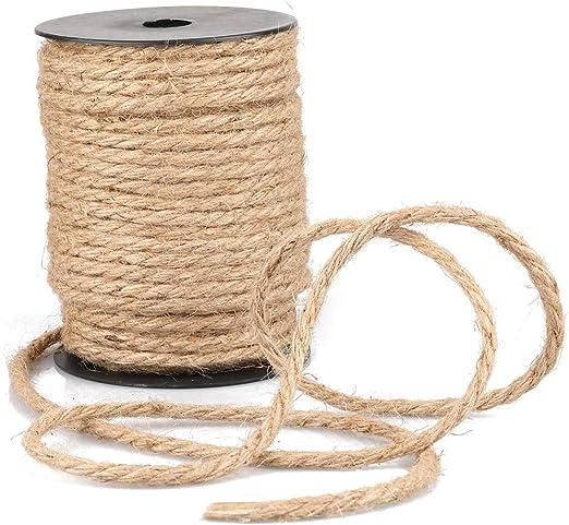 Cuerda de Yute Gruesa para jardín, 35 m, 4 mm, Color marrón, Cuerda de cáñamo para Manualidades, Embalaje, decoración, jardinería: Amazon.es: Jardín
