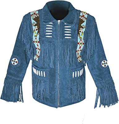 MSHC Western Cowboy Mens Fringed Suede Leather Jacket D7 V2 XXS-5XL Black