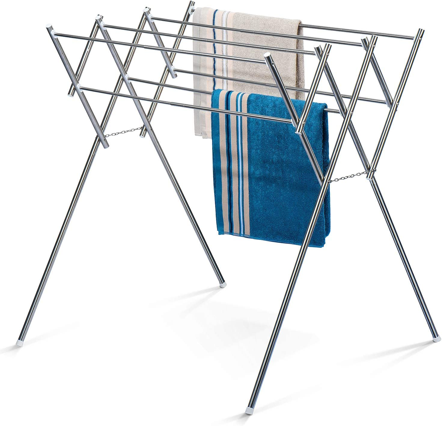HOUSE DAY Drying Rack Towel Rack Stainless Steel Foldable Towel Clothes Drying Rack Folding Drying Rack Laundry Drying Rack