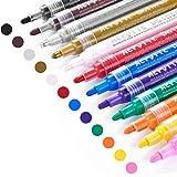 Acrylic Paint Marker Pens, Emooqi 12 Colors Premium Waterproof Permanent Paint Art Marker Pen Set for Rock Painting, DIY…