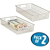mDesign Wire Storage Basket for Kitchen, Pantry, Cabinet - Pack of 2, Slim, Satin