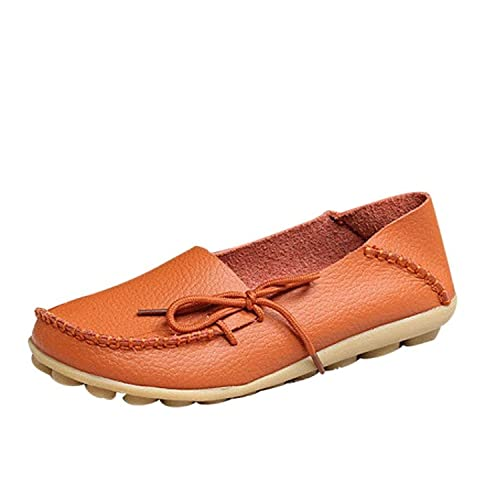 3dc7e323934 FAYALE Women s Driving Shoes Cowhide Leather Lace-Up Loafers Boat Shoes  Flats (5 B