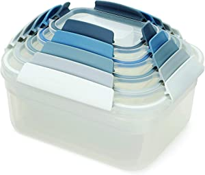 Joseph Joseph Nest Lock Plastic Food Storage Container Set with Lockable Airtight Leakproof Lids, 10-Piece, Sky