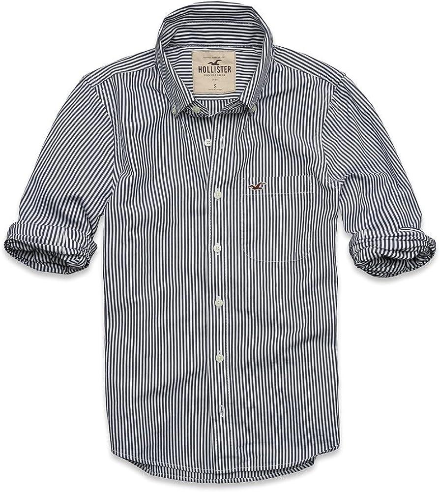 Hollister - Camisa casual - para hombre blanco blanco: Amazon ...