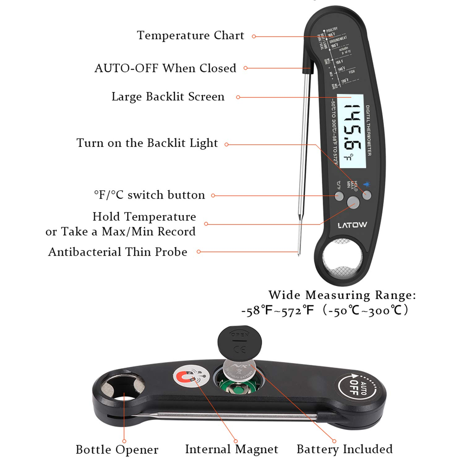 Latow Instant Read Meat Waterproof Thermometer w// Backlit /&  Calibration Bottle Opener Function Long Probe Portable Thermometer for BBQ Indoor Outdoor Kitchen Oven Digital Meat Thermometer