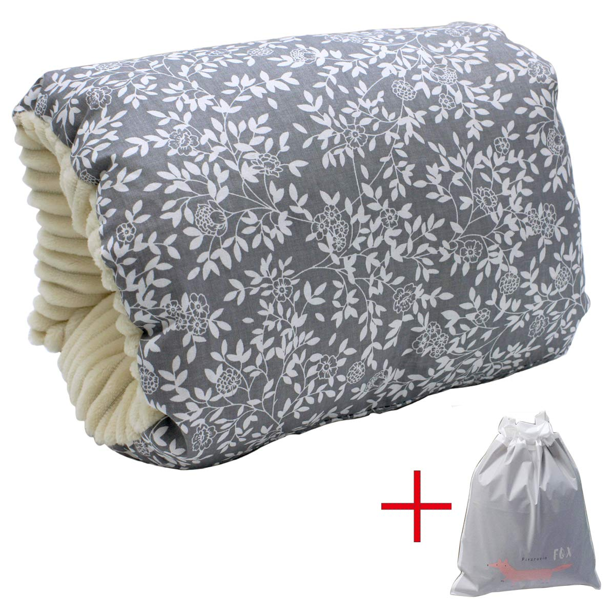 Baby Feeding Pillow,Travel Nursing Pillow Portable Arm Breastfeeding Pillow,Slip-On Arm Support Cusion with Storage Bag (Leaves)