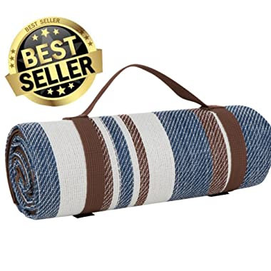 Scuddles Extra Large Picnic & Outdoor Blanket Dual Layers for Outdoor Water-Resistant Handy Mat Tote Spring Summer Blue and White Striped Great for The Beach,Camping