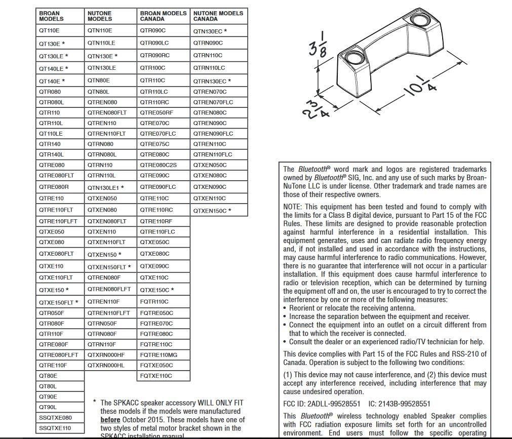 Broan SPKACC Sensonic QT Series Speaker Accessory with Wireless Technology (Renewed)