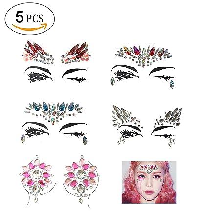 55196ae5f4 Amazon.com : LINGREAL Face Gems Crystal Sticker Rhinestone Body ...