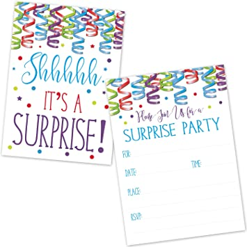 Amazoncom Surprise Birthday Party Invitations for Kids and Adults