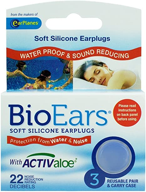 Bio Ears Soft Silicone EarPlugs Protection Noise Reduction Rating 22 Decibels.