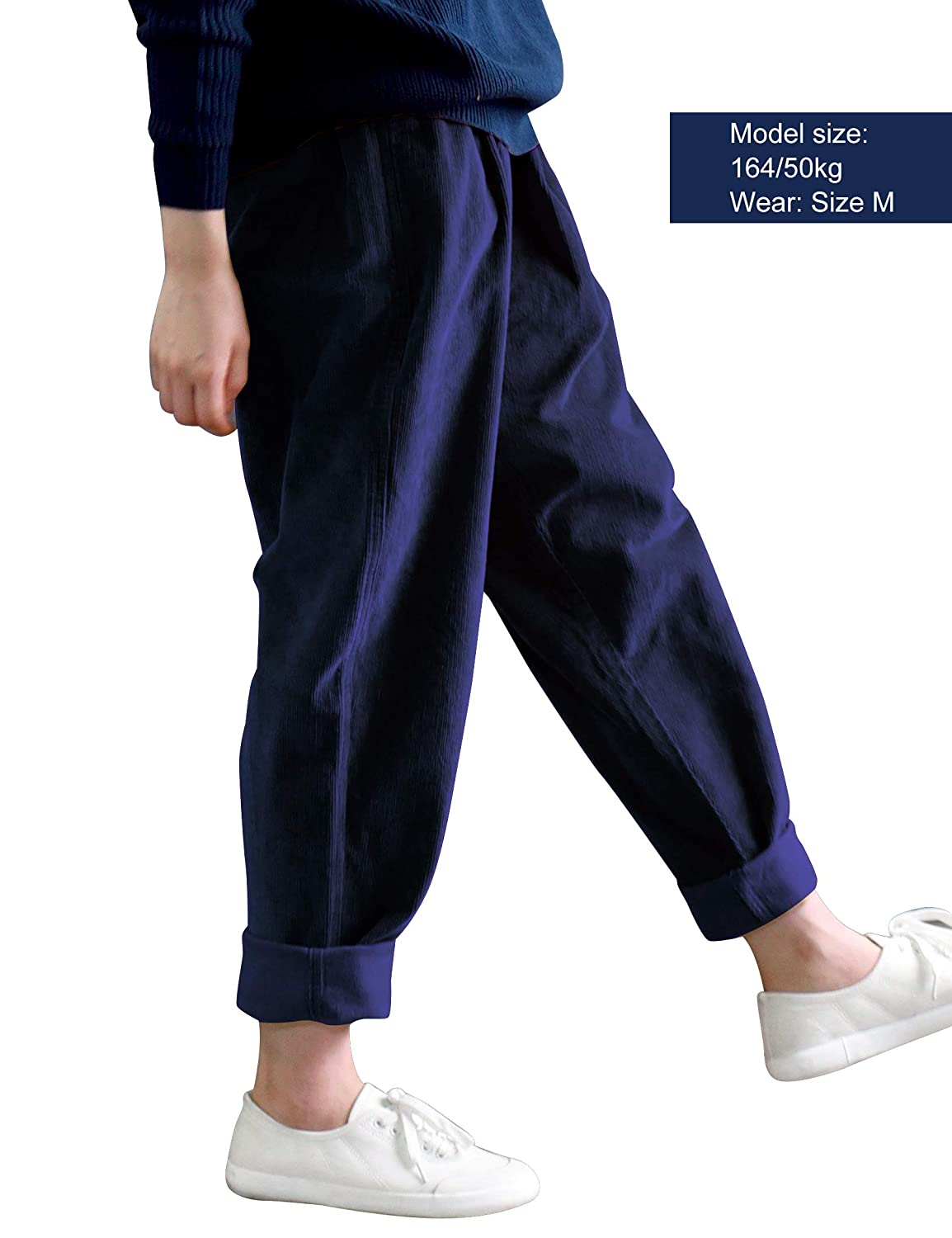 60518482b4a031 IDEALSANXUN Women's Retro Thick Corduroy Elastic Waist Loose Fit Casual  Harem Pants Trousers at Amazon Women's Clothing store: