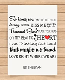 Amazon thinking out loud lyrics burlap print ed sheeran presents gifts for him her husband wife girlfriend boyfriend valentines day wedding anniversary christmas xmas ed stopboris Choice Image