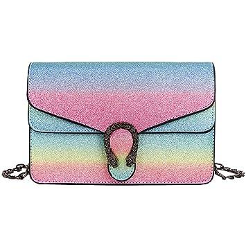 YLSX Mini Bolso Mujer Rainbow Rainbow Shining Wine God Paquete PU Embrague Monedero con Cadena Bolso