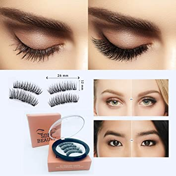 4d167d29e51 Image Unavailable. Image not available for. Color: SDM Beauty Magnetic  Eyelashes Dual Magnet Glue-free 3D Reusable Full Size ...