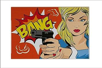 Fliese Kachel Lustiges Comic Bang Keramik Bedruckt X Cm Amazon - Unterschied kacheln und fliesen