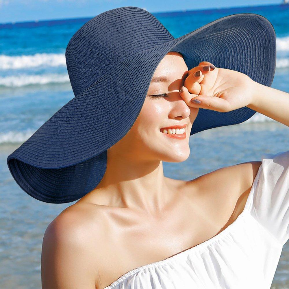 Dafunna Straw Sun Hats for Women UV Protection Summer Ladies Sun Hat UPF 50+ Deep Blue Foldable Wide Brim Floppy Beach Hat