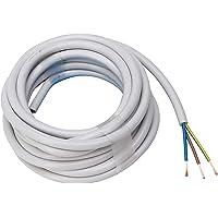 Kopp Cable de manguera de 3 hilos, H05 VV-F 3 G, 1,5 mm² (5 m) para instalación flexible, 300 V/500 V, cable de…