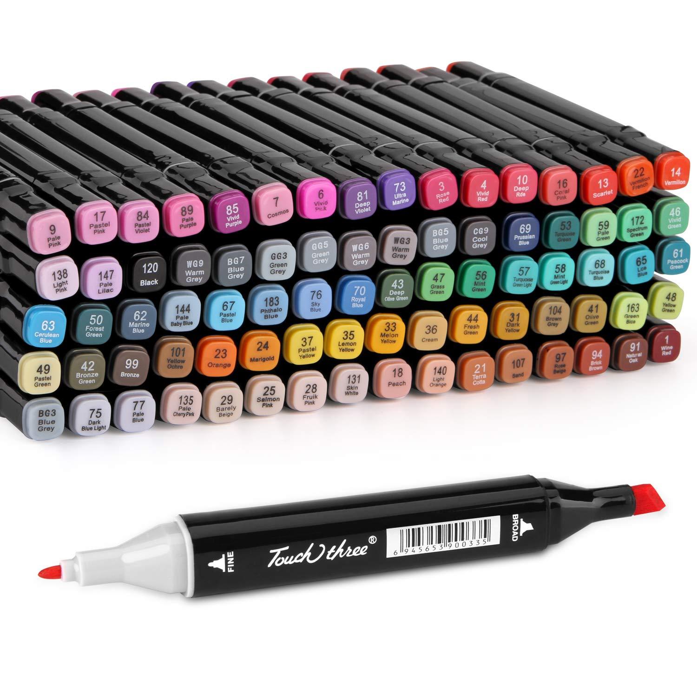 80 Colors Marker Pen Set, AGPtEK Permanent Dual Tips Marker Pens Art Markers with Zipper Carrying Bag, Ideal for Kids Adults Drawing, Sketching, Highlighting & Underlining by AGPTEK