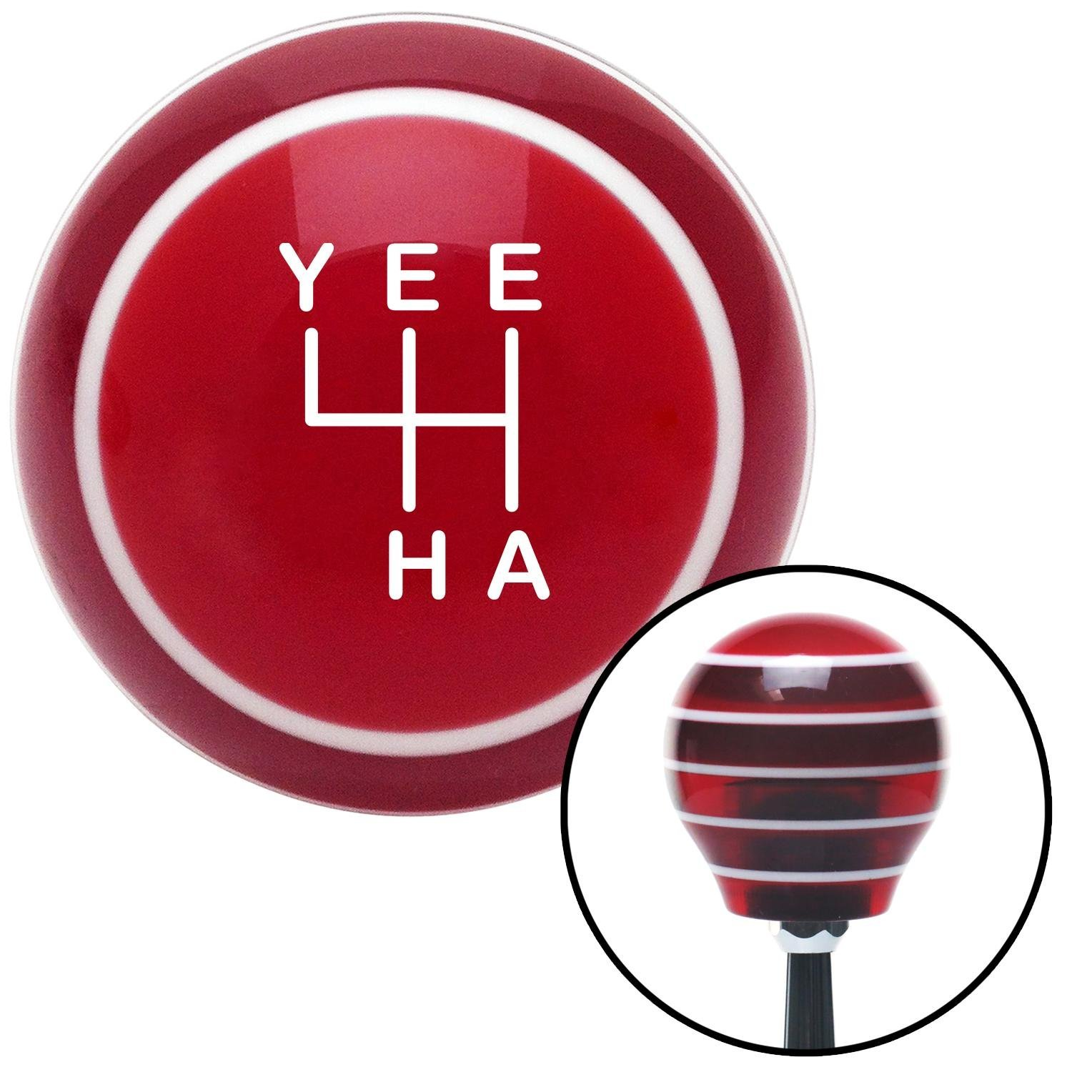 White YeeHa 4 Speed Red Stripe with M16 x 1.5 Insert American Shifter 301817 Shift Knob