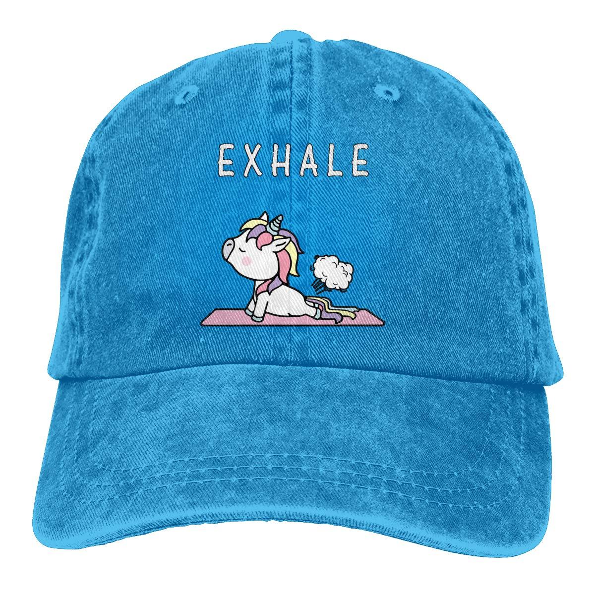 Funny Cute Unicorn Yoga Exhale Popular Unisex Washed Cap Adjustable Dads Denim Stetson Hat