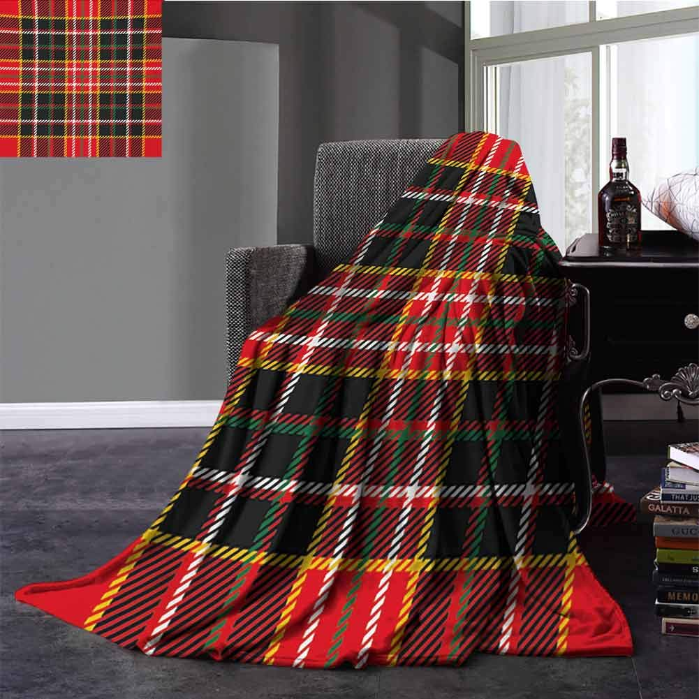 Plaid Knee Blanket Vertical and Horizontal Lines Tartan Backdrop Scottish Fashion and Culture Inspired Winter Warm Blanket Full Size Multicolor 70x90 Inch