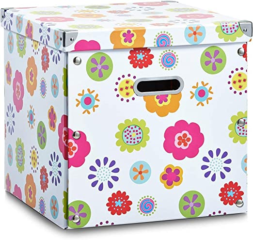 Zeller 17631 Caja de almacenaje de cartón Multicolor (Blumen) 33.5 x 33 x 32 cm: Amazon.es: Hogar