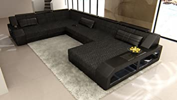 Couch u form xxl  Amazon.com: XXL Fabric Sectional Sofa MATERA LED: Kitchen & Dining
