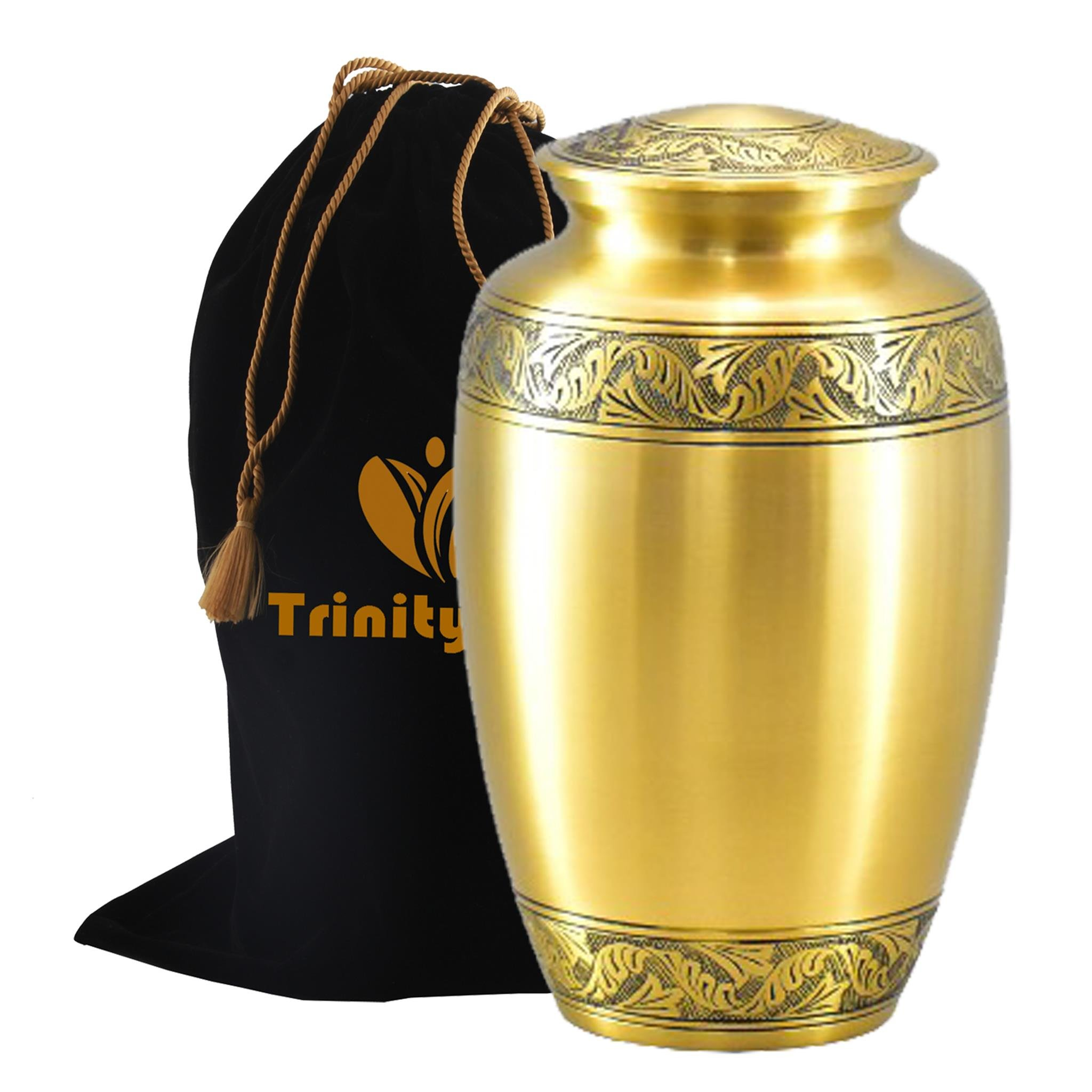 Classic Pewter Brass Cremation Urn - Beautifully Handcrafted Adult Funeral Urn - Solid Brass Funeral Urn - Affordable Urn for Human Ashes with Free Velvet Bag by Trinityurns