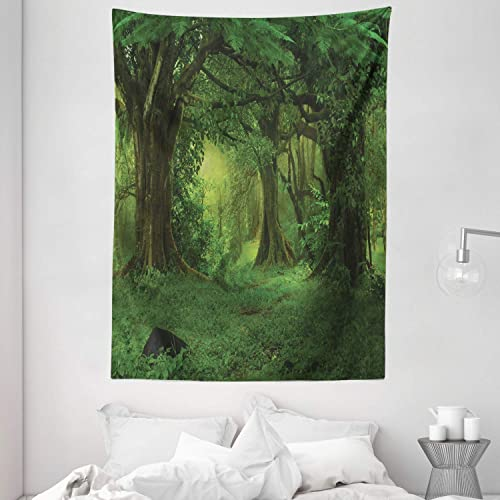 Ambesonne Nature Tapestry, Deep Tropical Jungle Trees Foliage in The Woodland Himalayas Meditation Landscape, Wall Hanging for Bedroom Living Room Dorm, 60 X 80 , Dark Green